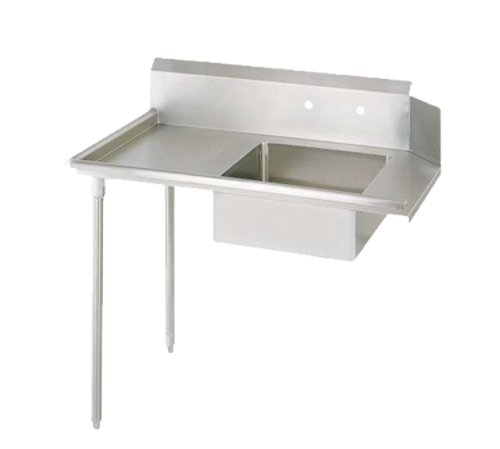 """NEW-Soiled Dishtable, straight design, 48""""W x 30-7/8""""D x 46-1/4""""H, comes in left or right operation, 18/304 stainless steel top, 10""""H backsplash, 20"""" x 20"""" x 8"""" deep pre-rinse sink, 8"""" O.C. splash mount faucet holes, raised rolled edges on front & side, 3-1/2"""" basket drain included, galvanized steel legs & side bracing, adjustable plastic bullet feet, NSF"""