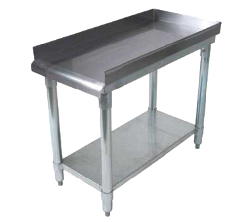 "NEW-Equipment Stand, 19""W x 30""D x 26""H, front rolled edge, 3 sided 2"" riser with hemmed edged, 18/430 stainless steel top reinforced with 1-1/2"" square tubing, galvanized undershelf & 1-5/8"" legs, NSF"