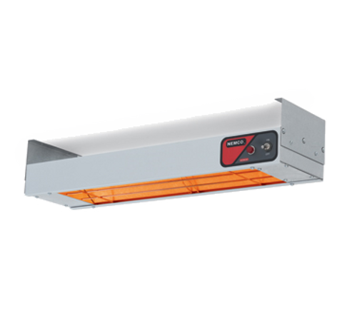 "NEW-Bar Heater, 24"" x 6-3/4"" x 2-3/4"", infrared heating element, with (1) on/off toggle switch, indicator light, aluminum shell, 120v/60/1-ph, 500 watts, 4.2 amps, cord & plug, UL, cUL, NSF"