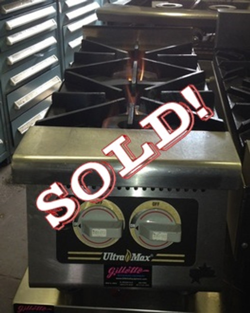 "USED-Star Ultra-Max?? Hotplate, gas, 12""W x 31""D x 14""H, (2) 30,000 BTU burners, manual controls, cast iron grates, stainless steel front with black trim, aluminized steel body, 4"" adjustable legs, 60,000 BTU"
