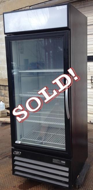 "USED-Minus Forty merchandiser freezer, single glass door, black exterior, white interior, (3) white wire shelves, flourescent lighting, bottom mounted refrigeration, 30""W x 32""D(+2"" for door handle) x 76""H, 115 volt, single phase"