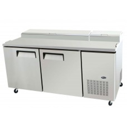 Refrigerated Reach-In Pizza Prep Table, two-section, self-contained refrigeration, 20.0 cu. ft. capacity, includes (9) 1/3 stainless steel pans, 33?ø to 38?øF temperature range, (2) locking hinged self-closing doors, (2) adjustable shelves, ventilated refrigeration, automatic lighting & evaporation, air defrost, stainless steel interior & exterior, galvanized steel back, casters, side mounted refrigeration, backsplash, 630 watts, 115v/60/1-ph, 7.5 amps, 2/3 HP, cETLus, ETL, CE