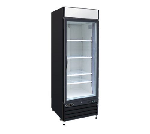 "NEW Kool-It Refrigerated Merchandiser, 23 cu.ft., 27-3/5""W x 31-1/10""D x 81""H, (1) locking double pane glass self-closing door, hinged on right, 36?ø-43?øF temperature range, digital thermostat with LED display, white aluminum interior with (3) adjustable shelves, LED lighting, top lighted signage panel, black powder-coated exterior, bottom mount self-contained refrigeration, (4) casters (2) braked, 2/3 HP, 115v/60/1-ph, 2.8 amps, cord with NEMA 5-15P, cETLus, ETL-Sanitation. 1 Year Warranty on Parts & Labor, 5 Years on Compressor."