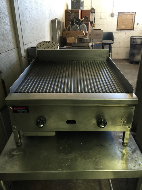 "Jade JGT-2424-FG Supremeƒ?› Griddle, countertop, gas, 24"", 1"" thick grooved steel plate, thermostatic controls, pilot tips, 3"" high stainless steel rear & side splash, 60,000 BTU, CSAus, NSF"