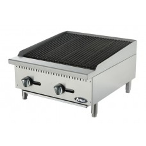 """Heavy Duty Radiant Charbroiler, gas, countertop, 24"""", (2) stainless steel burners, standby pilots, stainless steel radiant plates, cast iron grill, independent manual controls, adjustable multi-level top grates, stainless steel structure, adjustable stainless steel legs, 70,000 BTU, cETLus, ETL"""