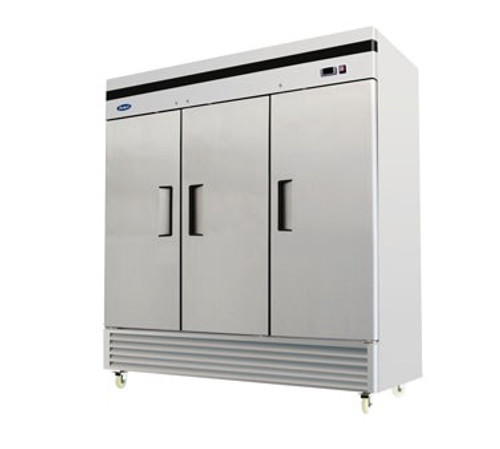 B-Series Reach-In Freezer, three-section, self-contained refrigeration, 71.0 cu. ft. capacity, -8?ø to -0?øF temperature range, (3) locking hinged self-closing doors, (9) adjustable shelves, ventilated refrigeration, interior lighting, automatic evaporation, digital temperature control, electric defrost, stainless steel interior & exterior, galvanized steel back, bottom mounted refrigeration, 1200 watts, 115/208-230v/60/1-ph, 5.5 amps, 1-1/4 HP, NEMA 14-20P, cETLus, ETL, CE, ENERGY STAR??