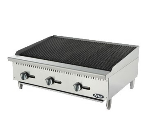 """Heavy Duty Radiant Charbroiler, gas, countertop, 36"""", (3) stainless steel burners, standby pilots, stainless steel radiant plates, cast iron grill, independent manual controls, adjustable multi-level top grates, stainless steel structure, adjustable stainless steel legs, 105,000 BTU, cETLus, ETL"""