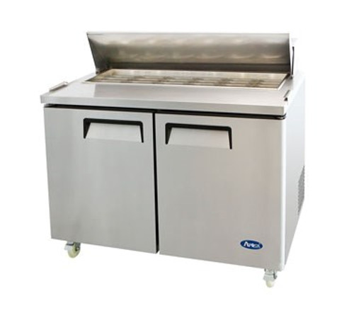 Mega Top Sandwich/Salad Reach-In Refrigerator, two-section, self-contained refrigeration, 14.7 cu. ft. capacity, includes (18) 1/6 stainless steel pans, 33?ø to 45?øF temperature range, (2) locking hinged self-closing doors, (2) adjustable shelves, poly cutting board, ventilated refrigeration, automatic lighting & evaporation, air defrost, stainless steel interior & exterior, galvanized steel back, casters, front breathing side mounted refrigeration, 560 watts, 115v/60/1-ph, 6.5 amps, 1/3 HP, cETLus,, ETL, CE