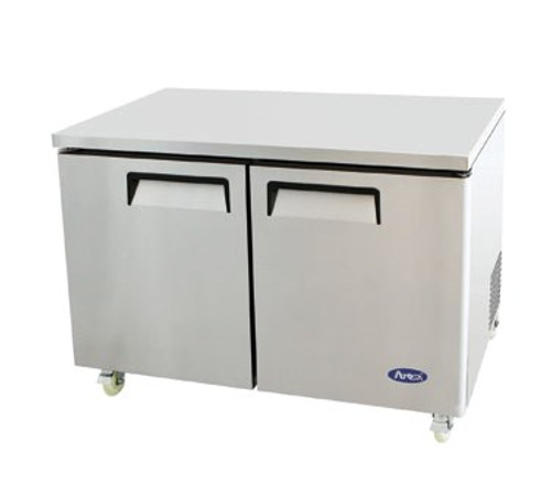 Undercounter Reach-In Refrigerator, two-section, self-contained refrigeration, 12.0 cu. ft. capacity, 33?ø to 45?øF temperature range, (2) locking hinged self-closing doors, (2) adjustable shelves, ventilated refrigeration, automatic evaporation, air defrost, stainless steel interior & exterior, galvanized steel back, casters, rear mounted refrigeration, 390 watts, 115v/60/1-ph, 4.2 amps, 1/3 HP, cETLus, ETL, CE, ENERGY STAR??