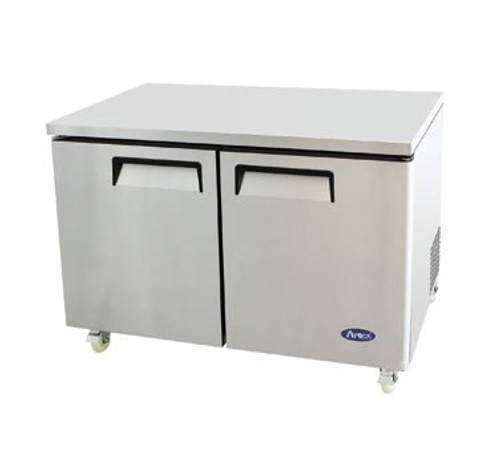Undercounter Reach-In Freezer, two-section, self-contained refrigeration, 12.0 cu. ft. capacity, -8?ø to -0?øF temperature range, (2) locking hinged self-closing doors, (2) adjustable shelves, ventilated refrigeration, automatic evaporation, electric defrost, stainless steel interior & exterior, galvanized steel back, casters, rear mounted refrigeration, 600 watts, 115v/60/1-ph, 7.2 amps, 1/2 HP, cETLus, ETL, CE