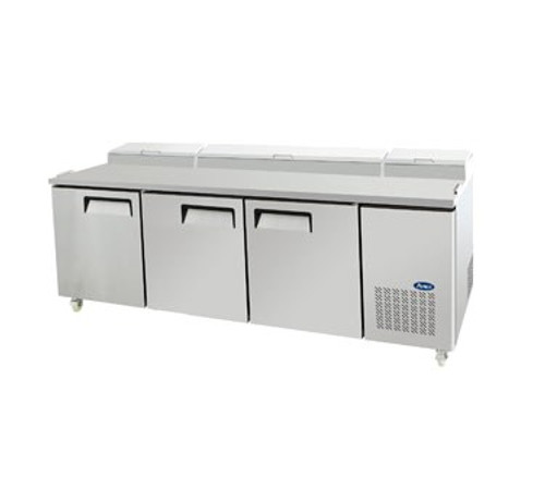 Refrigerated Reach-In Pizza Prep Table, three-section, self-contained refrigeration, 26.0 cu. ft. capacity, includes (12) 1/3 stainless steel pans, 33?ø to 38?øF temperature range, (3) locking hinged self-closing doors, (3) adjustable shelves, ventilated refrigeration, automatic lighting & evaporation, air defrost, stainless steel interior & exterior, galvanized steel back, casters, side mounted refrigeration, backsplash, 650 watts, 115v/60/1-ph, 7.7 amps, 2/3 HP, cETLus, ETL, CE