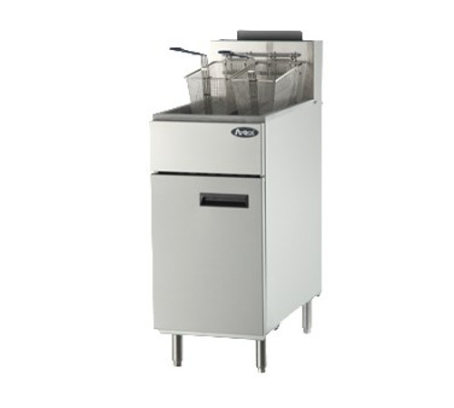 Heavy Duty Fryer, gas, floor model, 50 lb. capacity, (4) burners, standby pilots, 200?øF- 400?øF temperature range, self-reset high temperature limiting device, oil cooling zone seated in the bottom of the tank, stainless steel structure, adjustable stainless steel legs, 136,000 BTU, cETLus, ETL