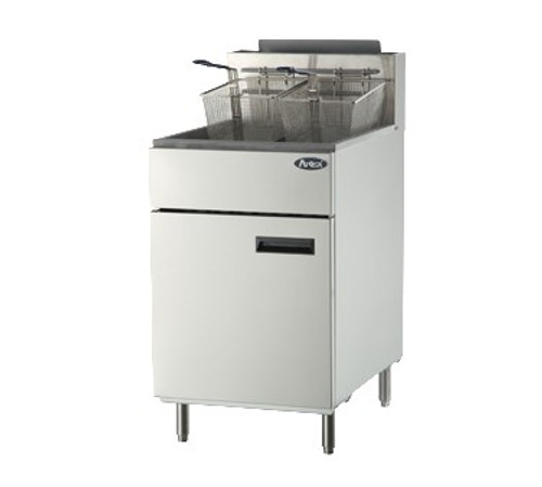 Heavy Duty Fryer, gas, floor model, 75 lb. capacity, (5) burners, standby pilots, 200?øF- 400?øF temperature range, self-reset high temperature limiting device, oil cooling zone seated in the bottom of the tank, stainless steel structure, adjustable stainless steel legs, 170,000 BTU, cETLus, ETL