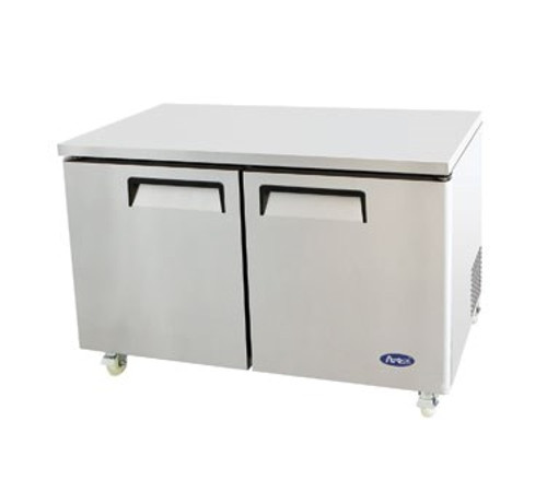 Undercounter Reach-In Refrigerator, two-section, self-contained refrigeration, 17.9 cu. ft. capacity, 33?ø to 45?øF temperature range, (2) locking hinged self-closing doors, (2) adjustable shelves, ventilated refrigeration, automatic evaporation, air defrost, stainless steel interior & exterior, galvanized steel back, casters, rear mounted refrigeration, 390 watts, 115v/60/1-ph, 4.2 amps, 1/3 HP, cETLus, ETL, CE, ENERGY STAR??