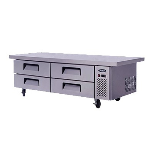"Chef Base with Extended Top, two- section, self-contained refrigeration, 15.0 cu. ft., (4) drawers, recessed door handles, stainless steel interior & exterior,  5"" casters, side-mounted refrigeration, 360 watts, 115v/60/1-ph, 4.2 amps, 1/4 hp, cETLus, ETL, CE"