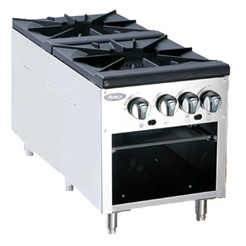 Stock Pot Stove, gas, (2) three-ring cast iron burners, full width removable stainless steel drip pan, two manual controls operate inner & outer rings independently, stainless steel sides and front valve cover, 160,000 BTU, cETLus, ETL