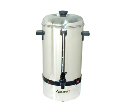Coffee Percolator, 40 cup capacity, automatic temp. control, heat-resistant handles, red indicator light,  clear water level gauge, includes stem, coffee filter basket & cover, stainless steel, mirror finish, 120v/60/1-ph, 11.25 amps, 1350 watts, NEMA 5-15P, ETL-Sanitation, cETLus, CE