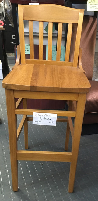 Schoolhouse Barstool, slat back, solid wood saddle seat, footrest, European beechwood frame