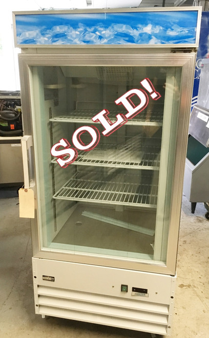 Freezer Merchandiser, reach-in, one section, 9 cu. ft. capacity, frost-free, self-closing double pane thermal glass door, digital thermostat, LED lighting, (3) adjustable cantilevered shelves, light box for custom decals, white cabinet, casters, 115v/60/1, 6.4 amps, ETL-Sanitation, NSF 7 (Commercial)