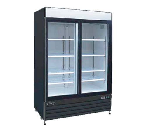 "Kool-It Refrigerated Merchandiser, 50 cu.ft., 52-1/25""W x 32-1/3""D x 79-1/2""H, (2) locking swing glass doors, 36?ø-43?øF temperature range, digital thermostat with LED display, white aluminum interior with (8) adjustable shelves, LED lighting, top lighted signage panel, black powder coated steel exterior, bottom mount self-contained refrigeration, (4) casters (2) locking, 1 HP, 115v/60/1-ph, 6.2 amps, cord with NEMA 5-15P, cETLus, ETL-Sanitation"