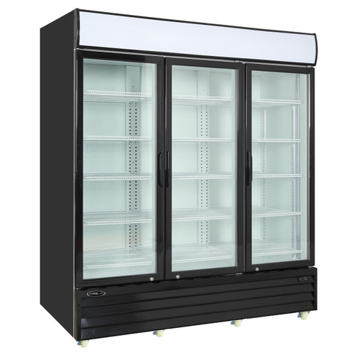 "Kool-It Refrigerated Merchandiser, 75 cu.ft., 78-1/5""W x 32-3/10""D x 81""H, (3) hinged locking glass door, hinged on right, 36?ø to 46?øF temperature range, digital thermostat with LED display, white aluminum interior with (15) adjustable shelves, LED lighting, top lighted signage panel, black powder-coated exterior, bottom mount self-contained refrigeration, (8) casters, 1 HP, 115v/60/1-ph, 6.8 amps, cord with NEMA 5-15P, cETLus, ETL-Sanitation"