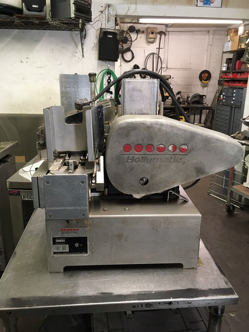 Hollymatic automatic patty making machine 3/4 H.P 115/230 volt, 60Hz., 1 Ph. 12/6 A 115/220 volt, 50 Hz., 1 Ph. 12/6 A, Feed Tray: Removable and safety interlocked w/guard. Paper Feed: 5-1/2ƒ? (standard) automatic side notch system. Optional 4-1/2ƒ?, and 5ƒ? available. Speed: 2,100 or 1,800 portions per hour. Portion Size: Standard up to 8 ounces per portion. Mold Plate: Standard 3/16ƒ? to 3/4ƒ? thick. 5-1/8ƒ? Maximum diameter with paper. Compressors: 5 Oz. or 8 Oz., depending on portion size.