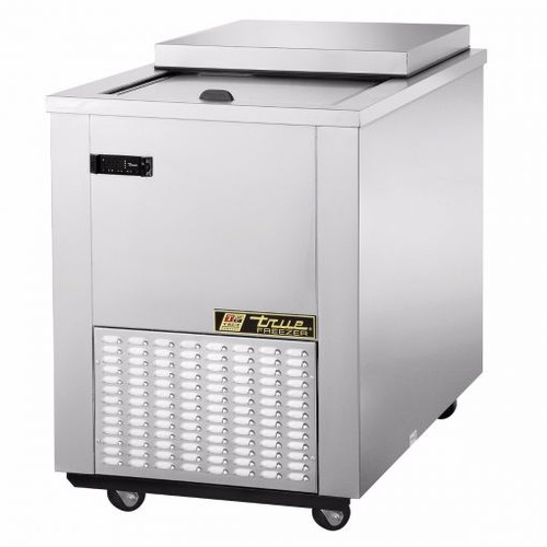 """34-1/2"""" wide, stainless steel meat well flat top freezer with a self-closing sliding door lid and removable hood. R404A refrigerant, 115 Volts, 60 Hz, 1-phase and 6.8 Amps for 1/3 HP and comes with a 9 ft power cord with a NEMA 5-15P plug. 2-1/2"""" diameter castors."""