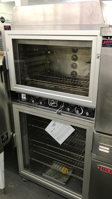 The Duke AHPO-6/18 Proofer Oven was developed for the need of consistent and uniform baking capabilities which provides high quality.  The Duke Proofer Oven utilizes Duke's unique directional convection airflow technology that provides even heat distribution and a uniform bake without the need for turning pans during the bake cycle.  This enhances the quality and consistency of baked products while reducing food waste/scrap and simplifying operating procedures. Low-profile oven won't block view of menu boards and will easily roll through a standard height door. Oven & proofer doors are field reversible with a drip channel to prevent water dripping on the floor. Full width doors on the oven and proofer help display and merchandise fresh baked goods. Lighted interiors merchandise freshly baked goods to customers. Accepts standard 1/2 size or full size sheet pans. 60 minute timer per section. 200?øF - 450?øF oven thermostat. Casters provide easy transportation of the unit. 208v/3ph
