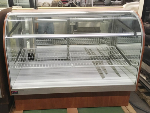 "Dry Bakery Case, 60"" x 35"" x 48"" tall, non-refrigerated, extra deep service type, tilt open curved glass front, (2) glass shelves with lights, white deck, mirrored laminate interior ends with glass vision end panels, mirrored rear sliding doors, laminated exterior, black base, cETLus, ETL-Sanitation, NSF."
