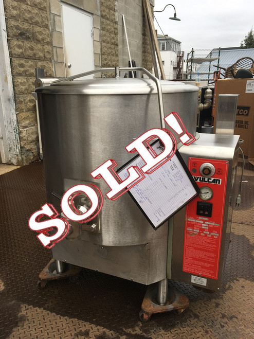 """Fully Jacketed Stationary Kettle, Gas, 40-gallon capacity, stainless steel spring assisted cover, 2"""" plug draw-off valve with perforated strainer, graduated measuring rod, faucet bracket, stainless steel construction with 316 series stainless steel liner, flanged feet, electric ignition, 135,000 BTU"""