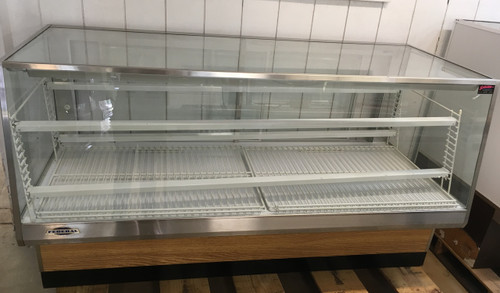 """FEDERAL High Volume Non-Refrigerated Bakery Case, 77""""W x 35""""D x 42ƒ?H, sloped thermopane front glass, top light (2) tiers of adjustable white wire shelves, glass sliding rear doors, white interior, tempered glass ends, choice of laminate with black trim, designed for continuous lineups, UL, UL EPH CLASSIFIED. 120V"""