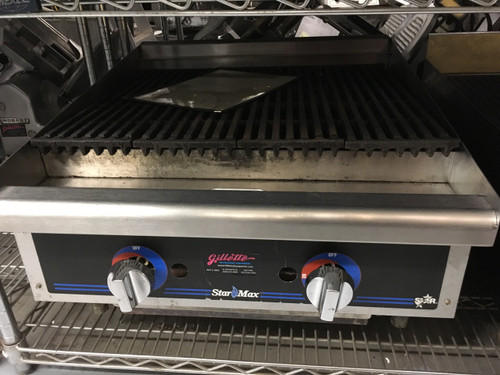 """Star-Max?? 6124RCB Heavy Duty Griddle, gas, countertop, 24"""" W x 21"""" D cooking surface, 1"""" thick polished steel griddle plate, embedded modulating thermostat every 12"""", heavy duty knobs, wrap-around stainless steel splash guard, grease trough & stainless steel drawer, welded steel frame with stainless steel front, 4"""" legs, 56,600 BTU, cULus, UL EPH"""