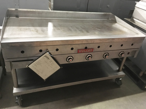 "Heavy Duty Griddle, countertop, gas, 60"" W x 24"" D cooking surface, 1"" thick polished steel griddle plate, embedded mechanical snap action thermostat every 12"", millivolt pilot safety, electric spark or manual ignition, front manifold gas shut-off valve, low profile, stainless steel front, sides, front grease trough, 4"" back & tapered side splashes, 4"" adjustable legs, 135,000 BTU, CSA, NSF"