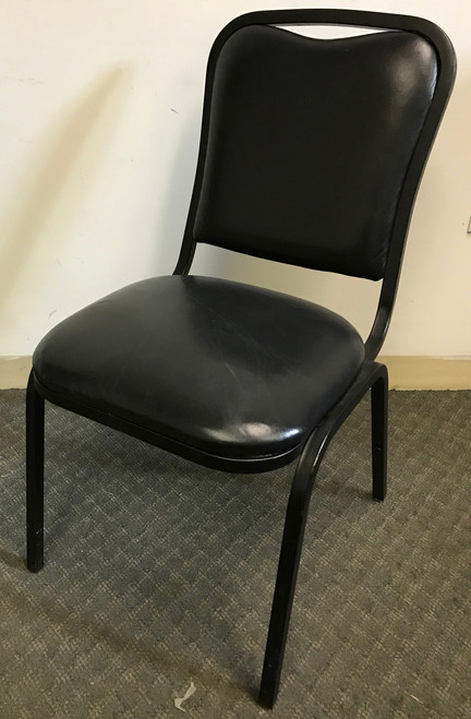 BLACK STACK CHAIR W/ BLACK UPHOLSTERY black chair, black stackable chair, black chair that stacks, black padded metal chair, black metal chair with padded seat