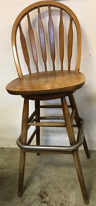WINDSOR FAN BACK BAR STOOL  - windsor fan back barstool, bar stool wood seat, bar stool all wood, wood bar stool