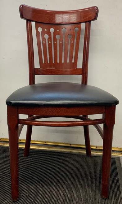 bubble back chair, dark wood chair with black upholstery seat, wood chair with bubble back, black seat on wooden chair