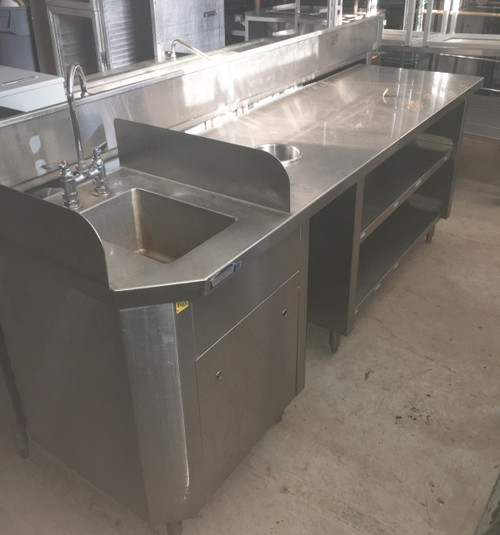 hand sink/ wait station, hand sink with wait station plate shelf and trash chute, wait station with handsink, wait station with hand sink and trash chute