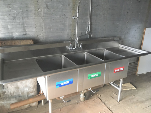 3 bay sink with two drain boards, 3 bay sink with labeled wells, 3 bay sink NSF, NSF three bay sink, NSF 3 bay sink, NSF three bay sink labeled wells 2 drain boards, 2 drain boards on NSF 3 bay sink, 3 bay NSF sink with drain boards, 2 drains boards on NSF 3 bay labeled sink