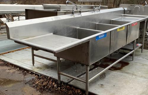 3 bay sink, 3 bay sink w drain boards, 3 bay sink drain boards with undershelf , 3 bay lever waste sink, 3 bay sink with leaver waste
