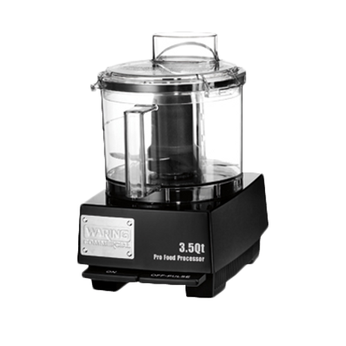 WARING Commercial Food Processor, 3.5 quart, vertical chute feed design, LiquiLockƒ?› Seal System, holds liquids in the bowl & locks S blade in the bowl while pouring, sealed LiquiLockƒ?› polycarbonate batch bowl & flat cover, includes: WFP14S1 Sealed S blade, WFP14S11 Sealed whipping disc, 1 HP motor, 120v/60/1-ph, 6 amps, UL, ETL-Sanitation