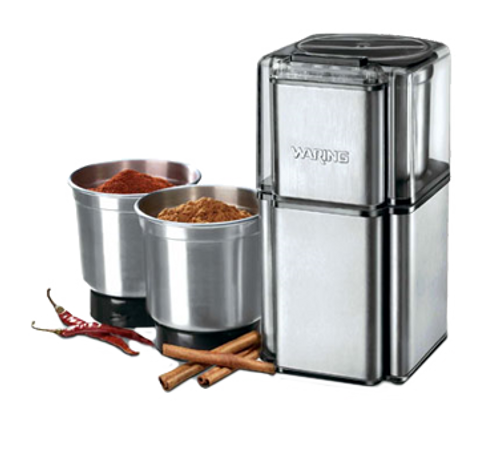Professional Spice Grinder, electric, with 3 stainless steel grinding bowls & storage lids, stainless steel housing & blades, 19,000 RPM, 120v/60/1-ph, 175 watts, NEMA 5-15P, cETLus, NSF