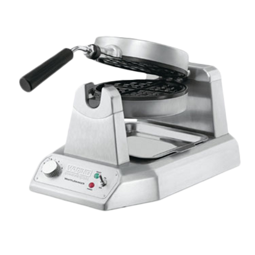 "Belgian Waffle Maker, single, up to (35) 7"" diameter, 1"" thick waffles per hour, audio beep signal, rotary feature, power & ready-to-bake LED indicators, embedded heating element, non-stick plates, heavy duty die cast housing, 120v/60/1-ph, 1.2kW, 10.0 amps, cord, NEMA 5-15P, cETLus, NSF"