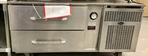 """Refrigerated Counter/Equipment Stand, one-section, side-mounted self-contained refrigeration, 48"""" L, (2) 27"""" drawers, accommodates (4) 12"""" x 20"""" pans, 12 gauge stainless steel marine subtop, stainless steel drawer fronts & sides, 6"""" adjustable legs, 1/4 HP, cUL, UL, NSF, Made in USA"""