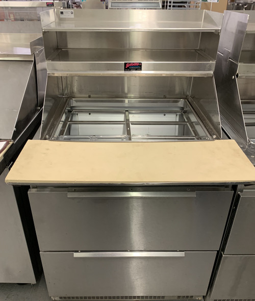 """Refrigerated Counter/Salad Top, 32"""" L, 32-3/4"""" D, one-section, (2) drawers, (2) 12"""" x 20"""" & (6) 1/3 size pan capacity, with cutting board, stainless steel exterior, 2-1/2"""" casters, front breathing rear-mounted self-contained refrigeration system, 1/4 HP, cUL, UL, NSF, Made in USA"""