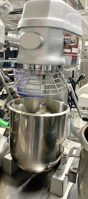 Planetary Mixer, 10 quart capacity, 3 speeds, gear driver, stainless steel bowl, whip, hook & beater, cast aluminum, 110v/60/1-ph, 0.7 hp, 6 amps, 600 watts, cETLus (not recommended for pizza, pita dough or any equivalent product)