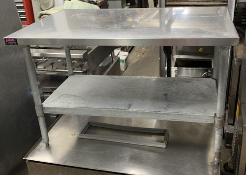 USED STAINLESS STEEL WORK TABLE