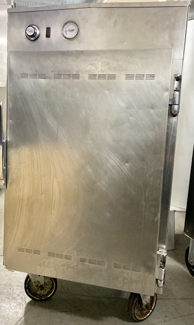 "USED ALTO-SHAAM Halo Heat Low Temp Holding Cabinet, on/off simple control with adjustable thermostat, indicator light, capacity (4) 12"" x 20"" pans, (2) chrome plated side racks spaced at 2-15/16"" centers, heavy-duty stainless steel exterior, 3-1/2"" casters; 2 rigid, 2 swivel with brakes, EcoSmart®, cULus, UL EPH ANSI/NSF 4, CE, IPX3, TUV NORD, EAC"