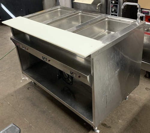 "Hot Food Table, electric, 208/240V, 48"" L, 30"" D, 36"" H, individual die-stamped (3) 12"" x 20"" top openings, sealed well with bottom element (used for wet operation), individual thermostatically controlled, stationary modular, open shelf base, stainless steel top & ends, full length 8"" D NSF workboard & stainless steel 7"" D plate shelf"