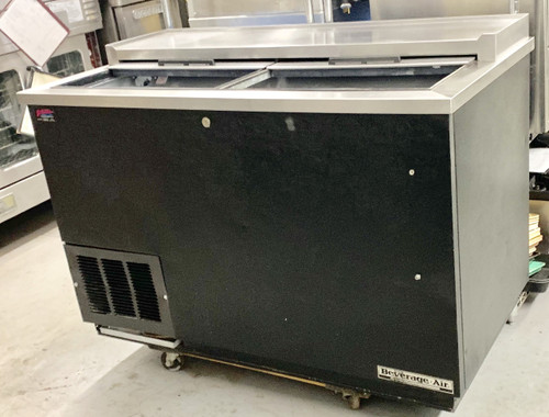 """Bottle Cooler, flat top, 50""""W x 26-1/2""""D x 33-3/4""""H, 13.7 cu. ft., (2) sliding lids, (3) adjustable wire dividers, case capacity: 17-1/2 cases (12 oz. bottles) or 23-3/4 cases (12 oz. cans), deep well design, bottle cap opener & cap catcher, black vinyl exterior, galvanized interior with stainless steel floor, stainless steel top, self-contained refrigeration system, R290 Hydrocarbon refrigerant, 1/4 HP, cULus, UL EPH Classified, UL-Sanitation, Made in USA"""