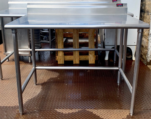 "s/s Work Table, 48""W x 30""D, 16 gauge 304 stainless steel top with 5""H backsplash, stainless steel legs with side & rear crossrails, adjustable stainless steel bullet feet, NSF"